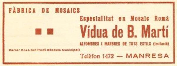 Retall de la Publicitat Vidua B Marti - Manresa - Revista Ave Maria any 1936